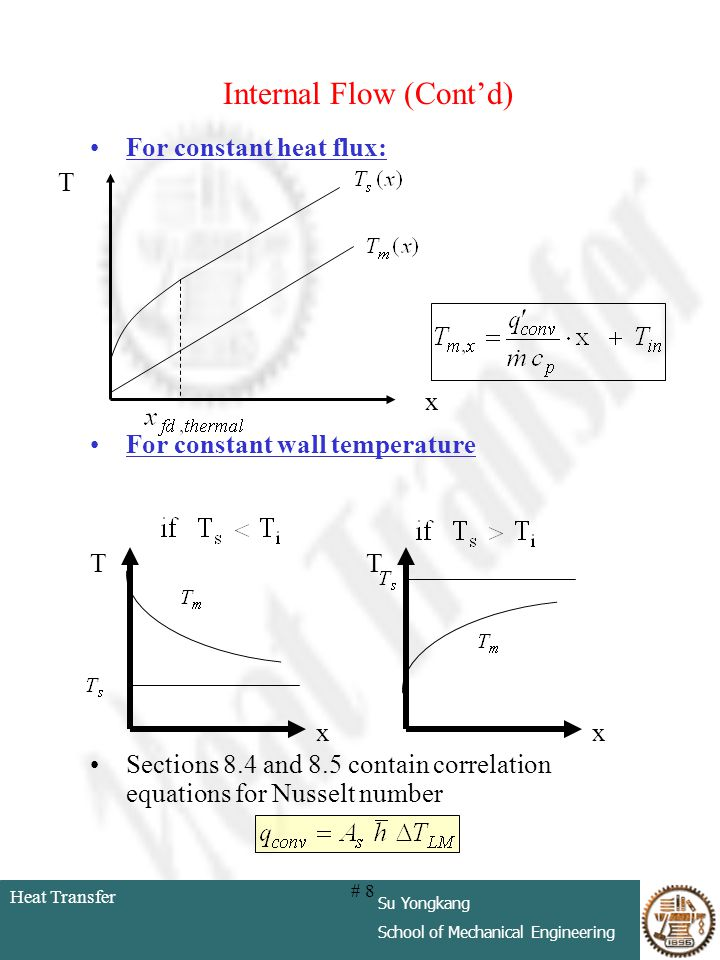 Heat Transfer Su Yongkang School of Mechanical Engineering # 8 Internal Flow (Contd) For constant heat flux: For constant wall temperature Sections 8.
