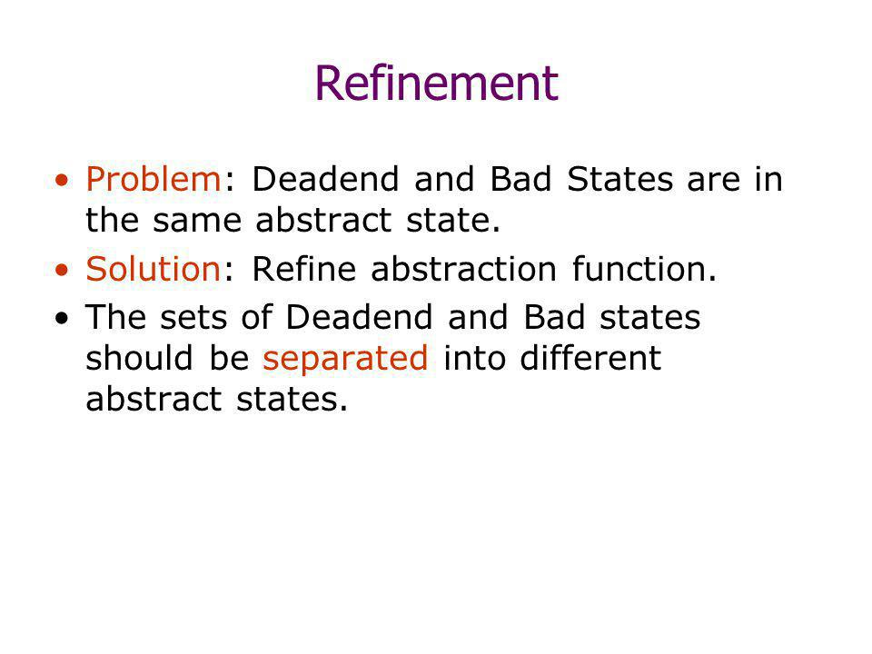 Refinement Problem: Deadend and Bad States are in the same abstract state.