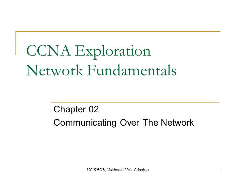 KC KHOR, Multimedia Univ. Cyberjaya 1 CCNA Exploration Network Fundamentals Chapter 02 Communicating Over The Network