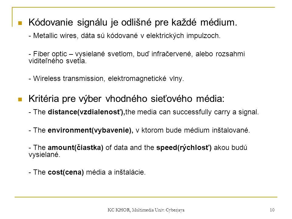 KC KHOR, Multimedia Univ. Cyberjaya 10 Kódovanie signálu je odlišné pre každé médium. - Metallic wires, dáta sú kódované v elektrických impulzoch. - F