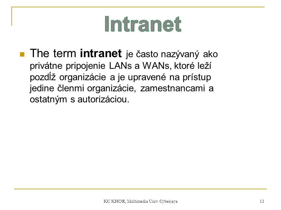 KC KHOR, Multimedia Univ. Cyberjaya 13 The term intranet je často nazývaný ako privátne pripojenie LANs a WANs, ktoré leží pozdĺž organizácie a je upr