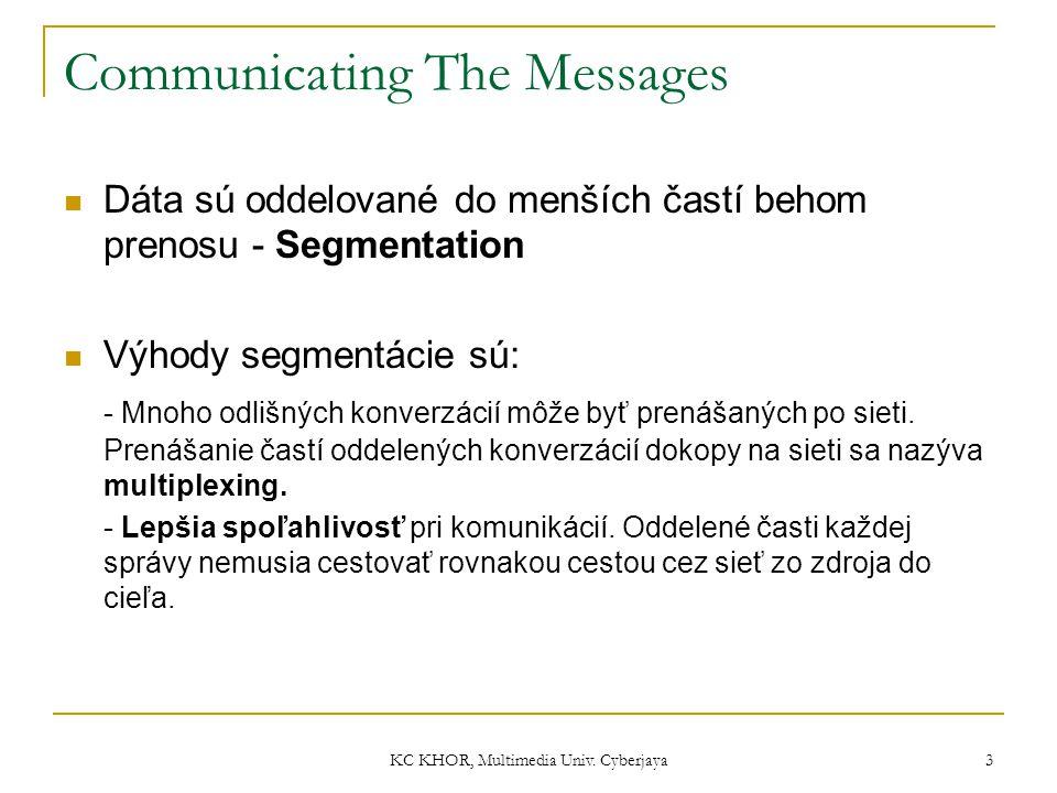 KC KHOR, Multimedia Univ. Cyberjaya 3 Communicating The Messages Dáta sú oddelované do menších častí behom prenosu - Segmentation Výhody segmentácie s