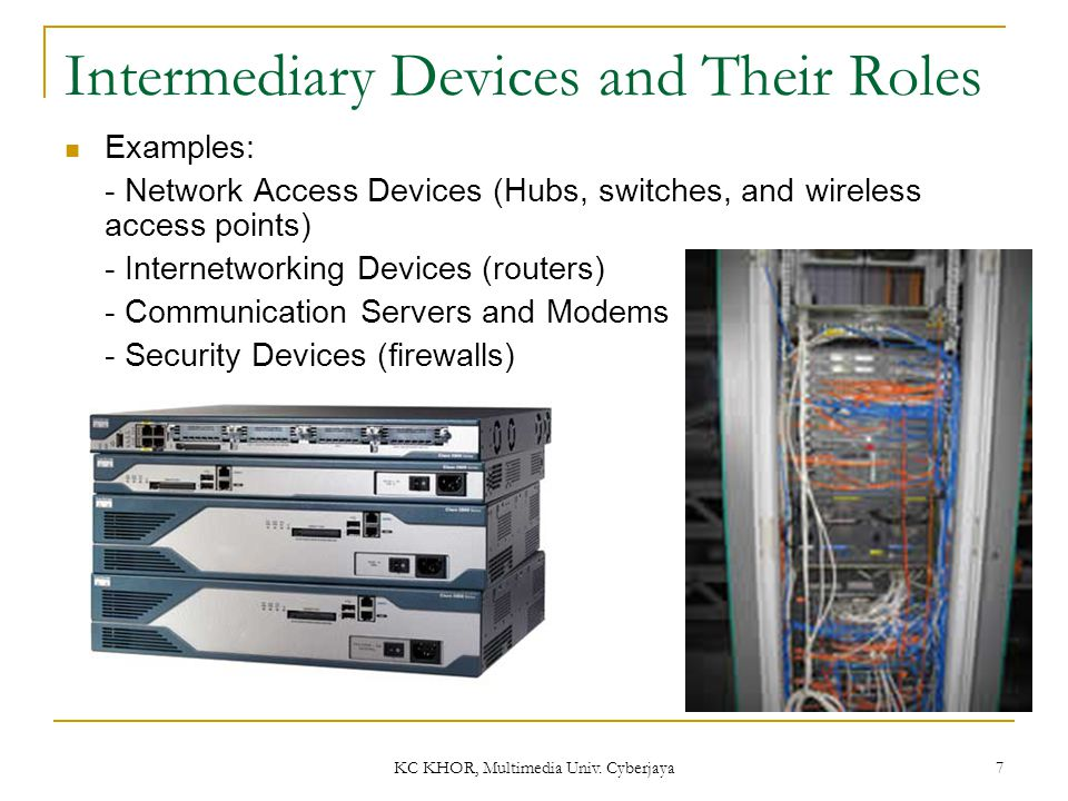 KC KHOR, Multimedia Univ. Cyberjaya 7 Intermediary Devices and Their Roles Examples: - Network Access Devices (Hubs, switches, and wireless access poi