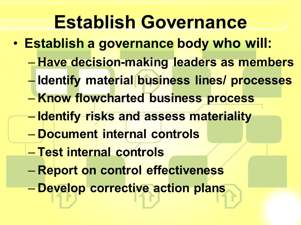 Establish Governance Establish a governance body who will: –Have decision-making leaders as members –Identify material business lines/ processes –Know