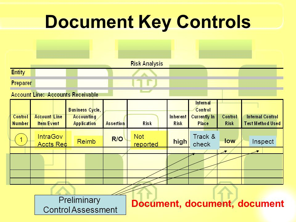 Document Key Controls IntraGov Accts Rec Not reported Document, document, document high 1 Reimb R/O Track & check low Inspect Preliminary Control Asse