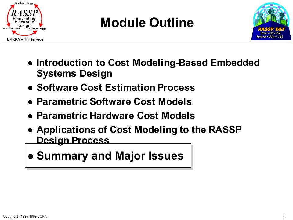 Copyright 1995-1999 SCRA 114114 Methodology Reinventing Electronic Design Architecture Infrastructure DARPA Tri-Service RASSP Module Outline l Introdu