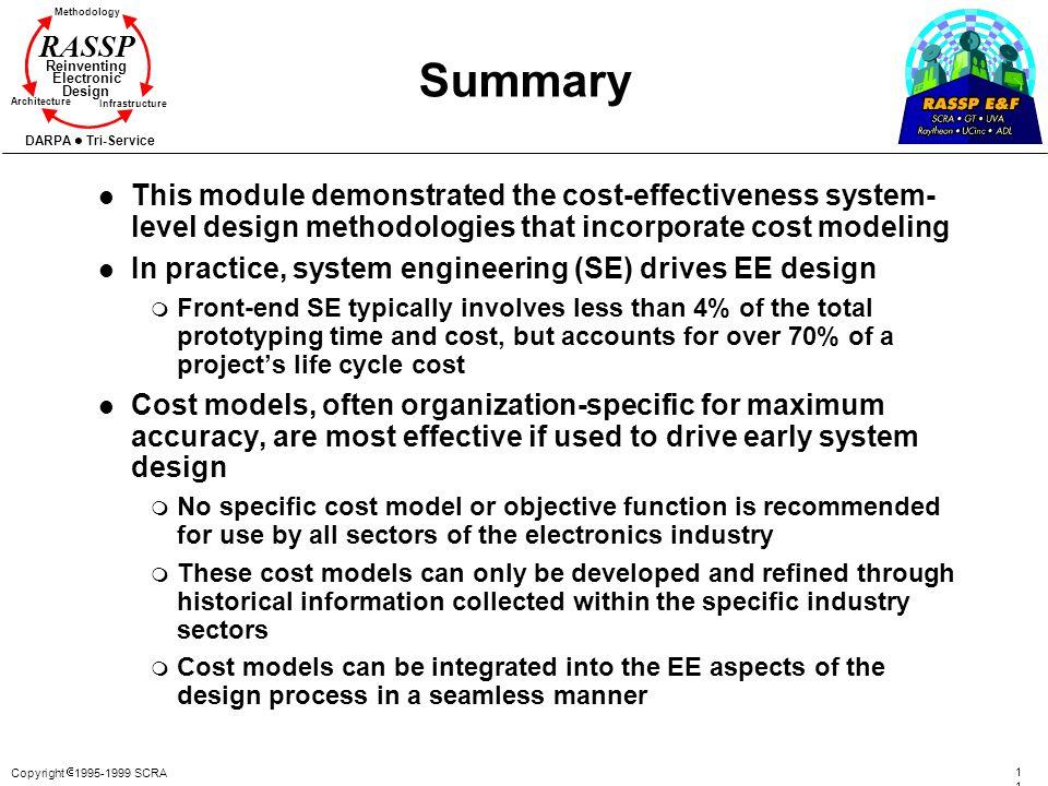 Copyright 1995-1999 SCRA 115115 Methodology Reinventing Electronic Design Architecture Infrastructure DARPA Tri-Service RASSP Summary l This module de