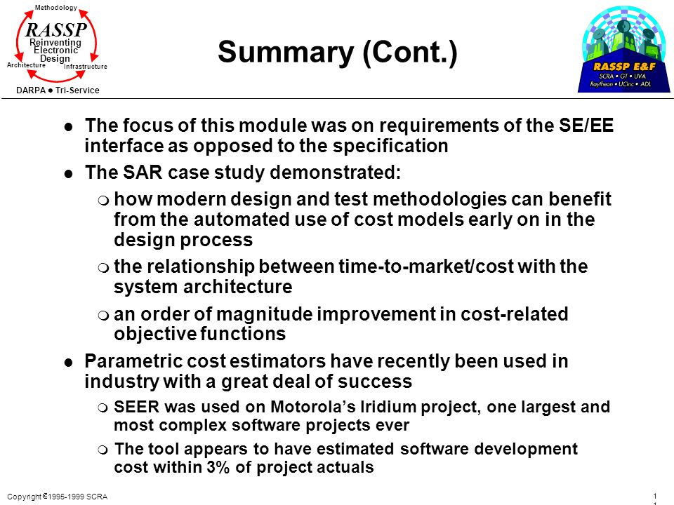 Copyright 1995-1999 SCRA 116116 Methodology Reinventing Electronic Design Architecture Infrastructure DARPA Tri-Service RASSP Summary (Cont.) l The fo