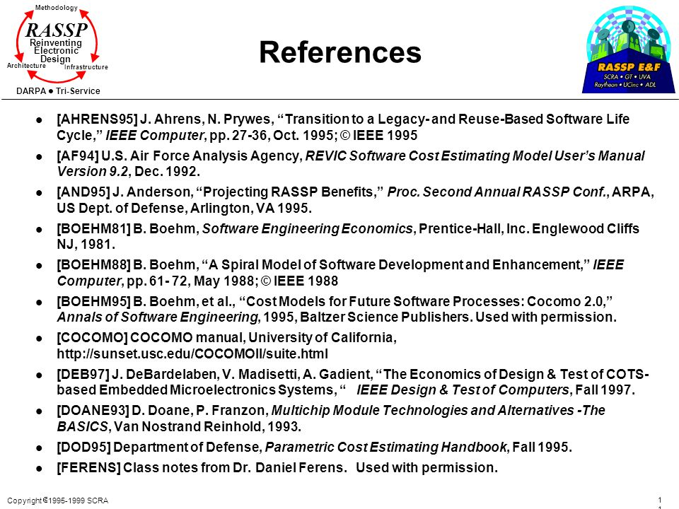 Copyright 1995-1999 SCRA 117117 Methodology Reinventing Electronic Design Architecture Infrastructure DARPA Tri-Service RASSP References l [AHRENS95]