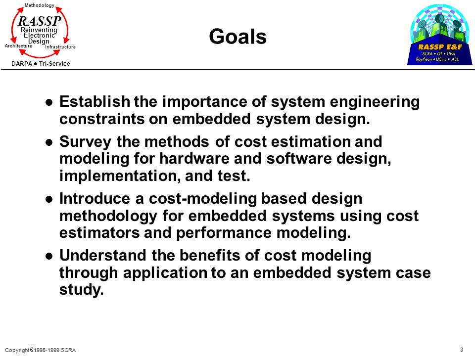 Copyright 1995-1999 SCRA 3 Methodology Reinventing Electronic Design Architecture Infrastructure DARPA Tri-Service RASSP l Establish the importance of