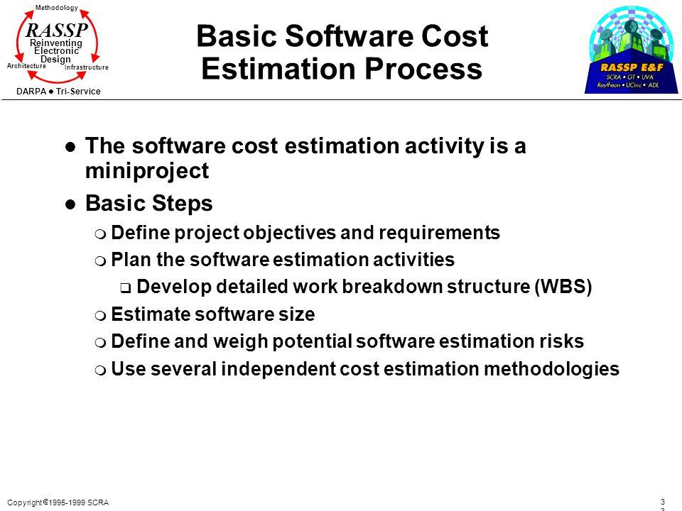 Copyright 1995-1999 SCRA3 Methodology Reinventing Electronic Design Architecture Infrastructure DARPA Tri-Service RASSP Basic Software Cost Estimation