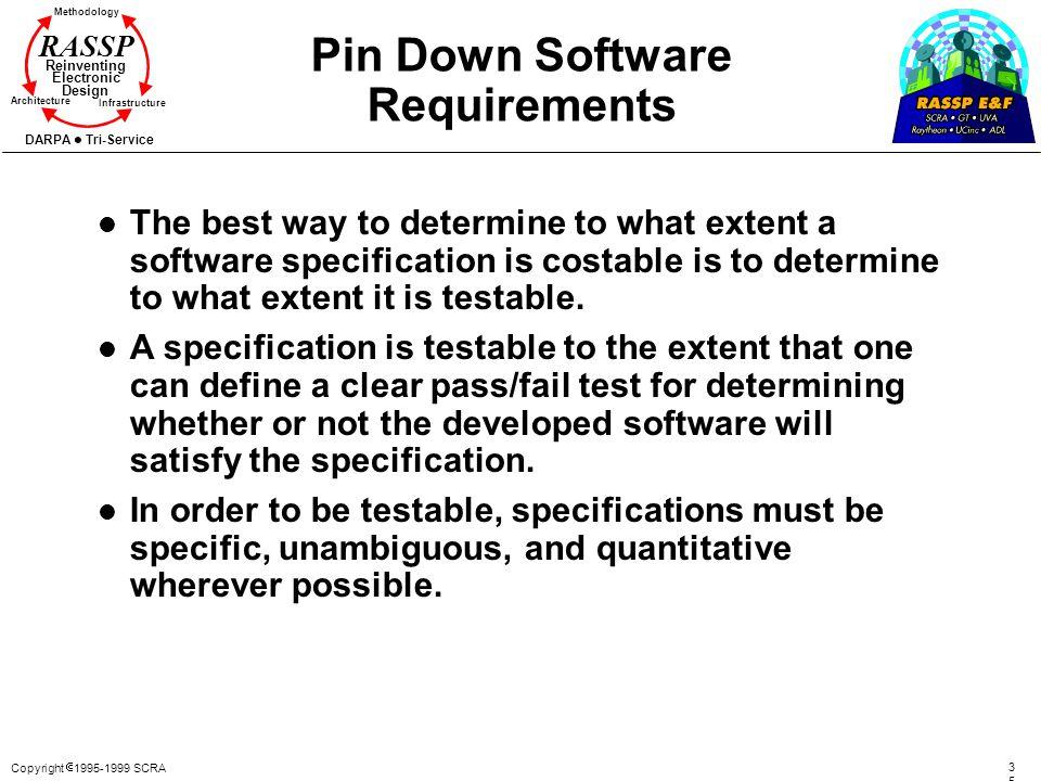 Copyright 1995-1999 SCRA 3535 Methodology Reinventing Electronic Design Architecture Infrastructure DARPA Tri-Service RASSP Pin Down Software Requirem