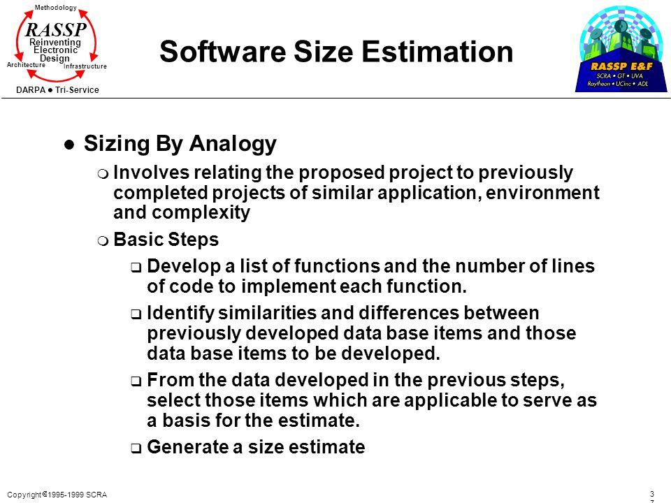 Copyright 1995-1999 SCRA 3737 Methodology Reinventing Electronic Design Architecture Infrastructure DARPA Tri-Service RASSP Software Size Estimation l