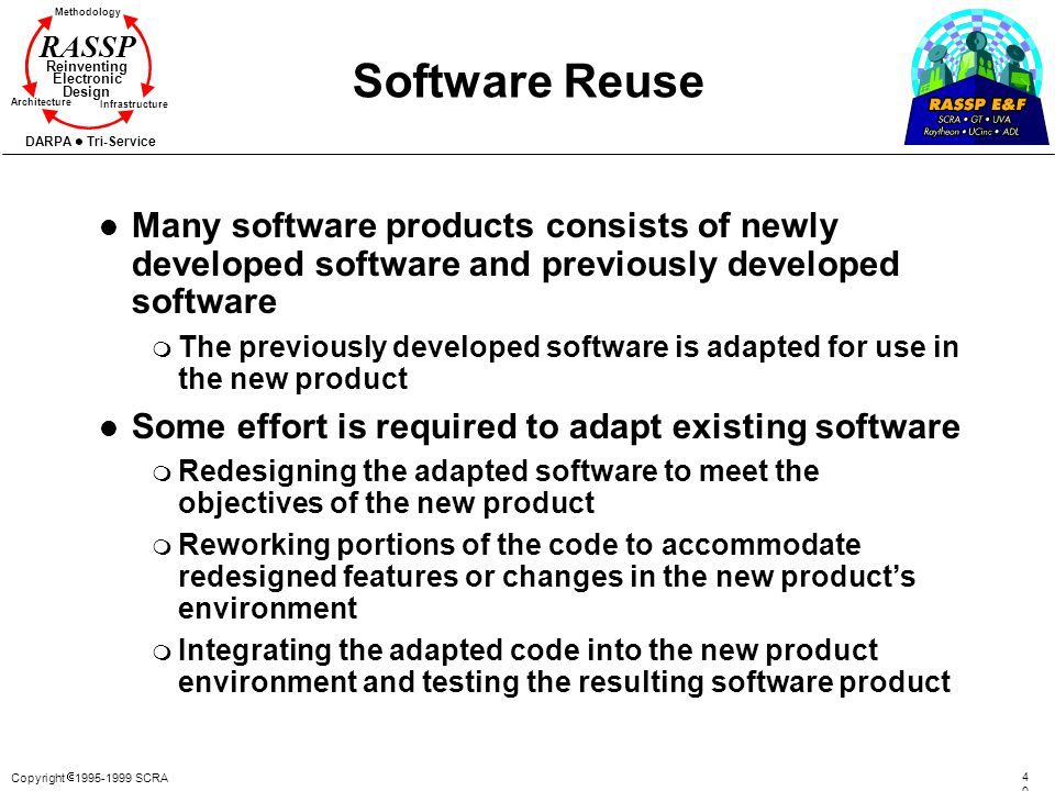 Copyright 1995-1999 SCRA 4040 Methodology Reinventing Electronic Design Architecture Infrastructure DARPA Tri-Service RASSP Software Reuse l Many soft