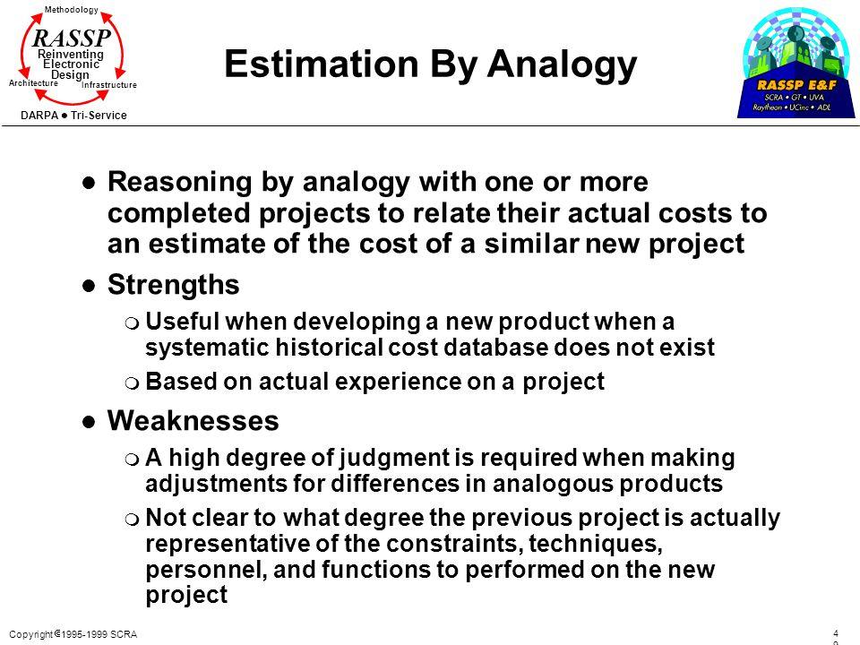 Copyright 1995-1999 SCRA 4949 Methodology Reinventing Electronic Design Architecture Infrastructure DARPA Tri-Service RASSP Estimation By Analogy l Re