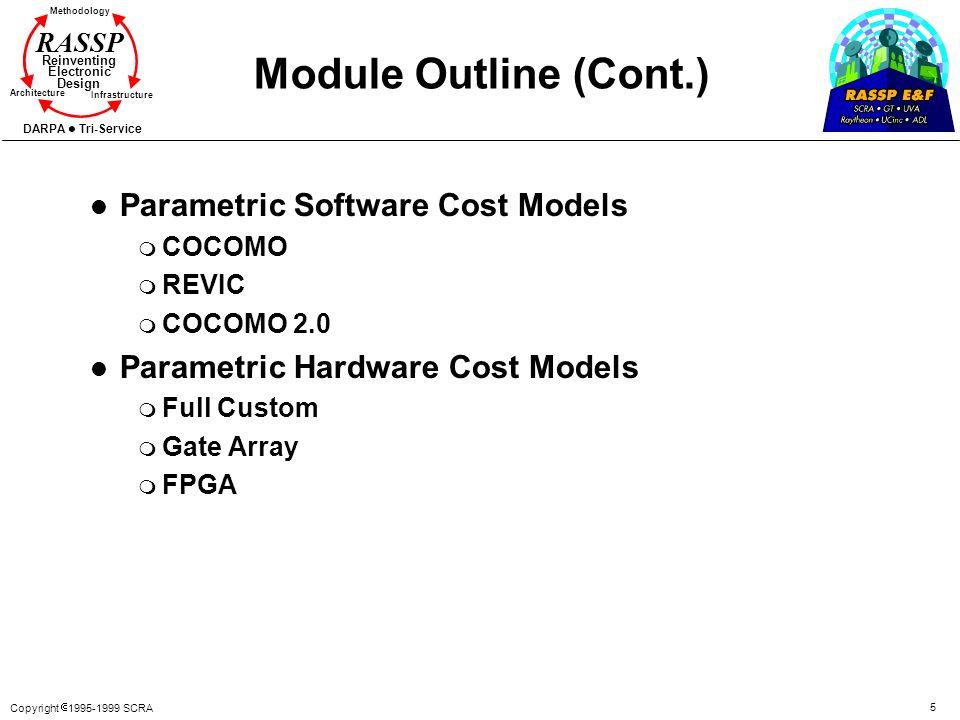 Copyright 1995-1999 SCRA 5 Methodology Reinventing Electronic Design Architecture Infrastructure DARPA Tri-Service RASSP Module Outline (Cont.) l Para