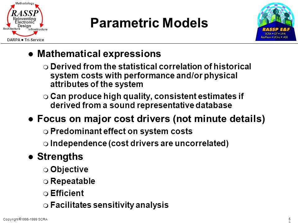 Copyright 1995-1999 SCRA 5252 Methodology Reinventing Electronic Design Architecture Infrastructure DARPA Tri-Service RASSP Parametric Models l Mathem