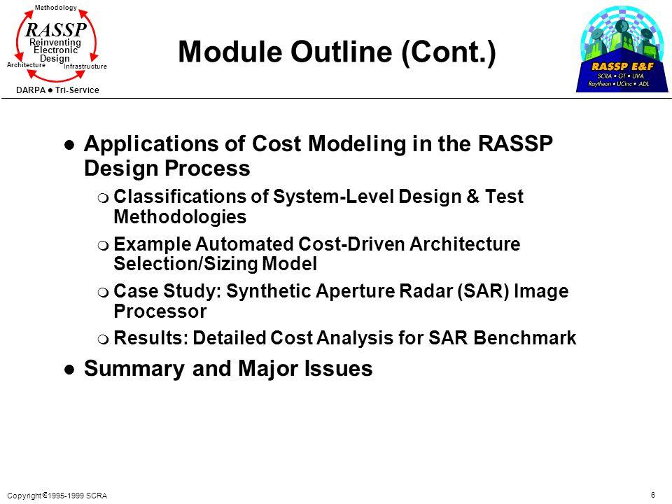 Copyright 1995-1999 SCRA 6 Methodology Reinventing Electronic Design Architecture Infrastructure DARPA Tri-Service RASSP Module Outline (Cont.) l Appl