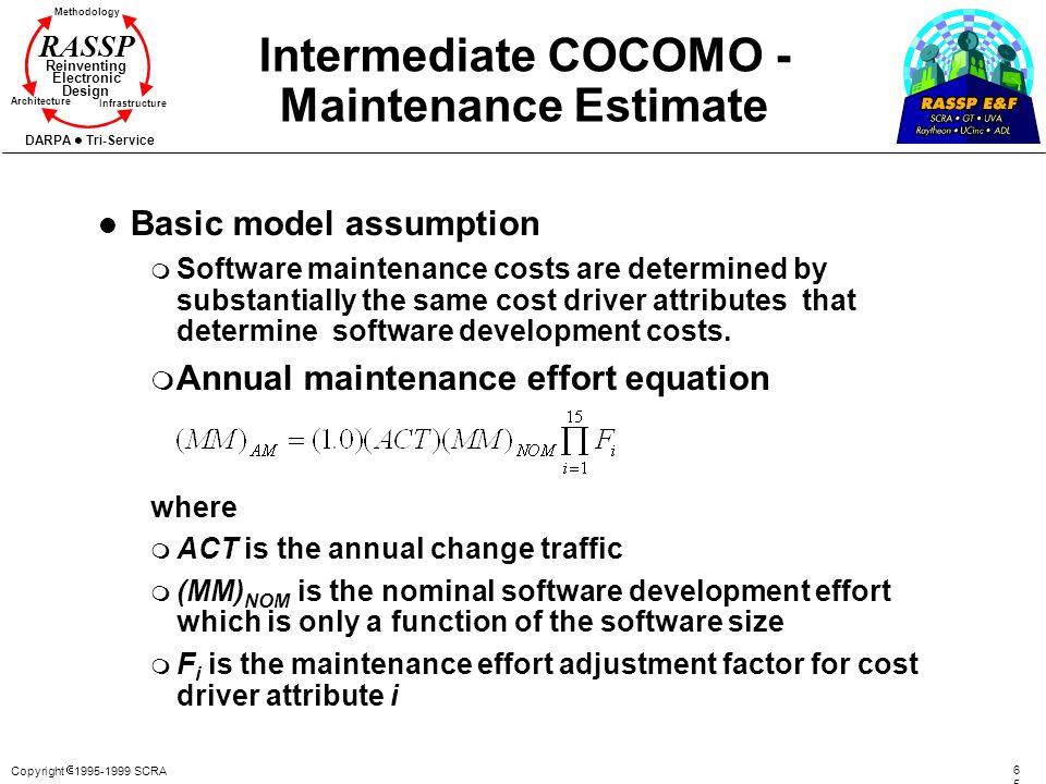 Copyright 1995-1999 SCRA 6565 Methodology Reinventing Electronic Design Architecture Infrastructure DARPA Tri-Service RASSP Intermediate COCOMO - Main