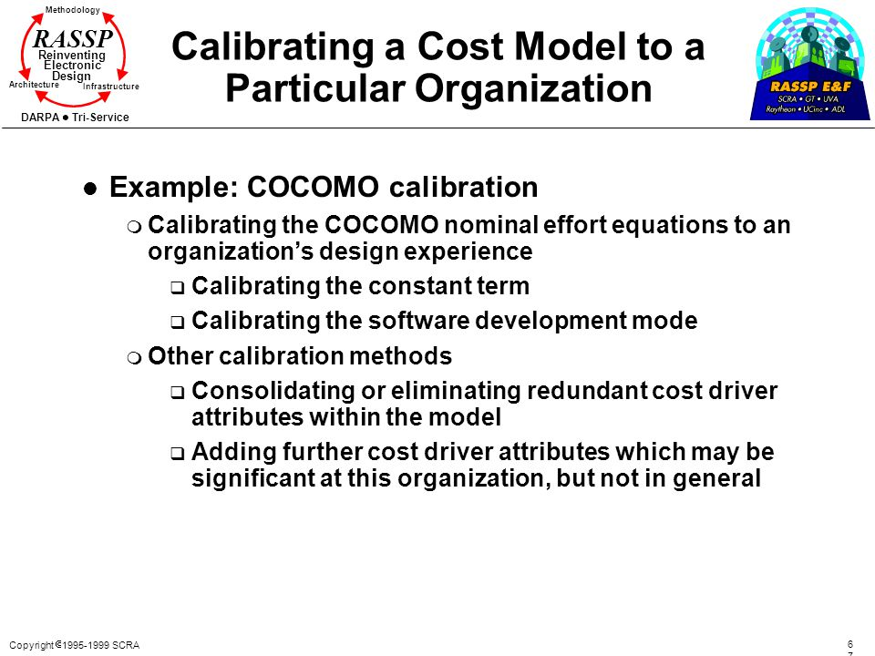 Copyright 1995-1999 SCRA 6767 Methodology Reinventing Electronic Design Architecture Infrastructure DARPA Tri-Service RASSP Calibrating a Cost Model t