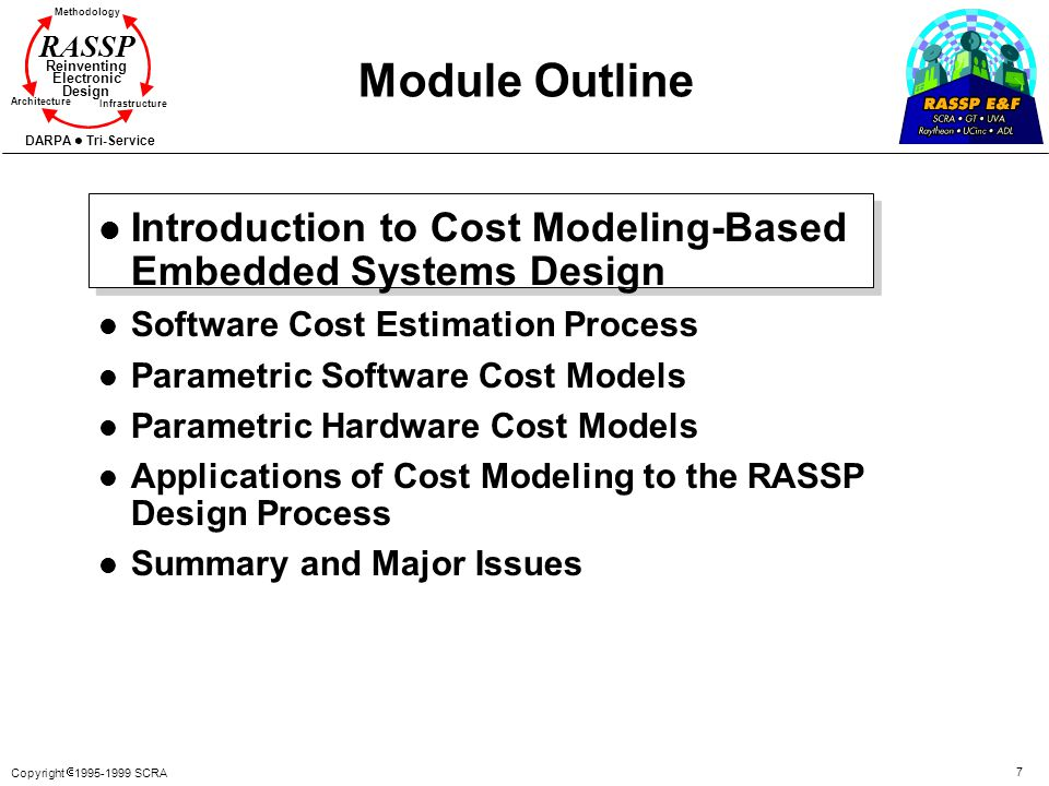 Copyright 1995-1999 SCRA 7 Methodology Reinventing Electronic Design Architecture Infrastructure DARPA Tri-Service RASSP Module Outline l Introduction