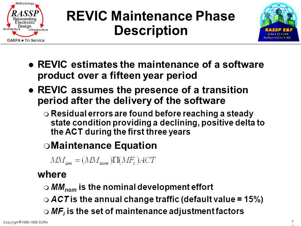 Copyright 1995-1999 SCRA 7474 Methodology Reinventing Electronic Design Architecture Infrastructure DARPA Tri-Service RASSP REVIC Maintenance Phase De