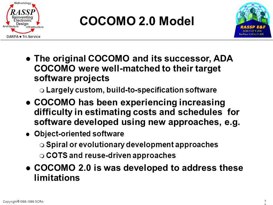 Copyright 1995-1999 SCRA 7676 Methodology Reinventing Electronic Design Architecture Infrastructure DARPA Tri-Service RASSP COCOMO 2.0 Model l The ori