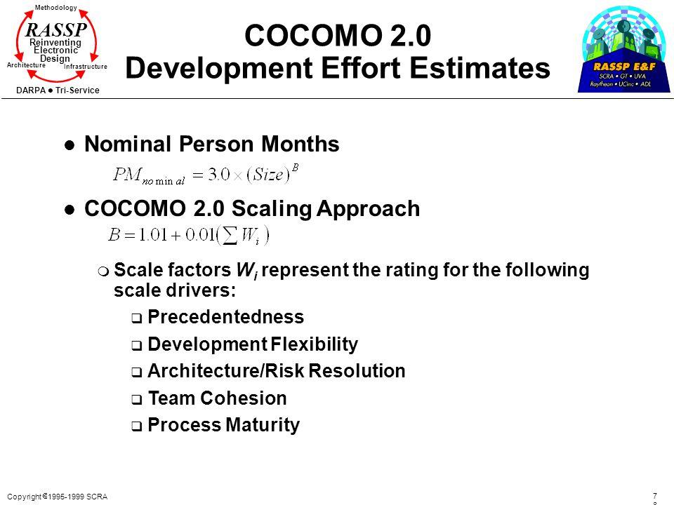 Copyright 1995-1999 SCRA 7878 Methodology Reinventing Electronic Design Architecture Infrastructure DARPA Tri-Service RASSP COCOMO 2.0 Development Eff