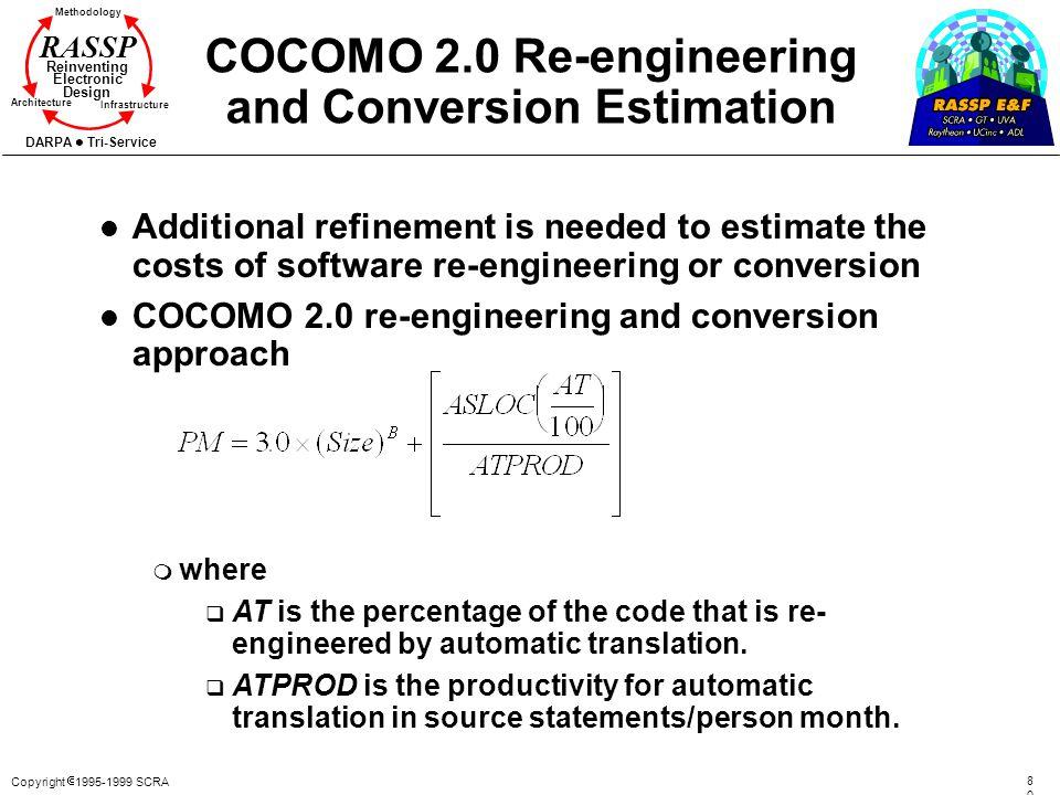 Copyright 1995-1999 SCRA 8080 Methodology Reinventing Electronic Design Architecture Infrastructure DARPA Tri-Service RASSP COCOMO 2.0 Re-engineering