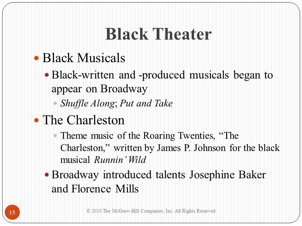 Black Theater Black Musicals Black-written and -produced musicals began to appear on Broadway Shuffle Along; Put and Take The Charleston Theme music o