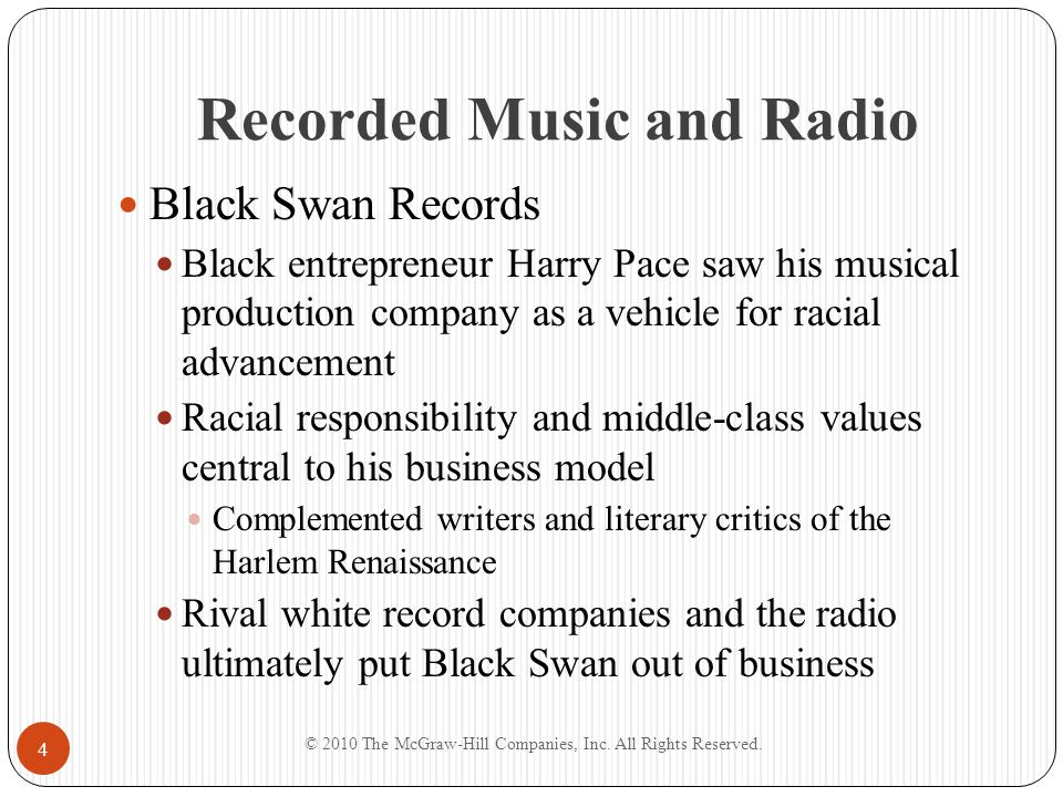 Recorded Music and Radio Black Swan Records Black entrepreneur Harry Pace saw his musical production company as a vehicle for racial advancement Racia
