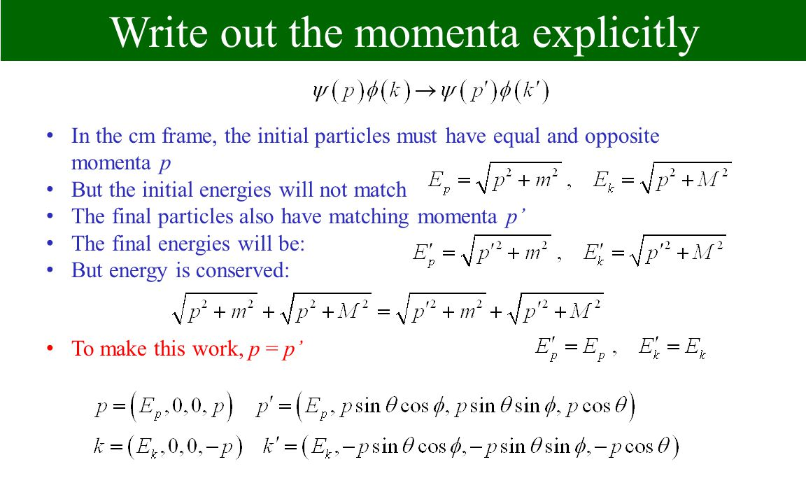 Write out the momenta explicitly In the cm frame, the initial particles must have equal and opposite momenta p But the initial energies will not match The final particles also have matching momenta p The final energies will be: But energy is conserved: To make this work, p = p
