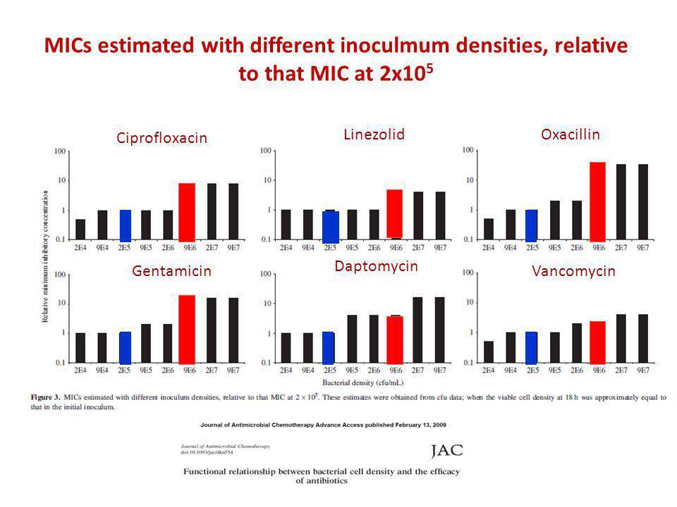 MICs estimated with different inoculmum densities, relative to that MIC at 2x10 5 Ciprofloxacin Gentamicin Linezolid Daptomycin Oxacillin Vancomycin