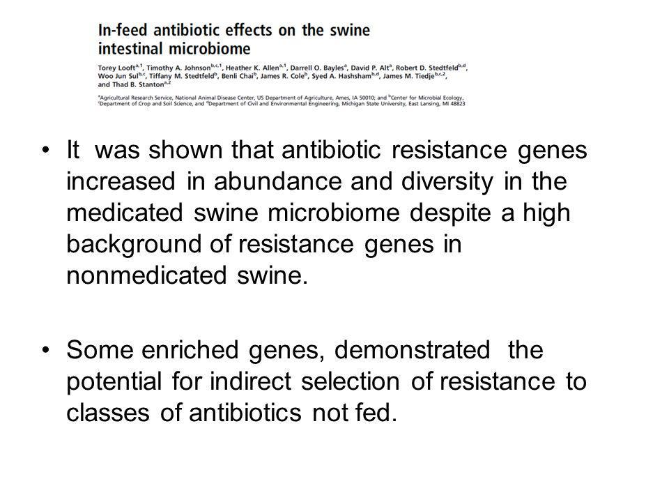 It was shown that antibiotic resistance genes increased in abundance and diversity in the medicated swine microbiome despite a high background of resi