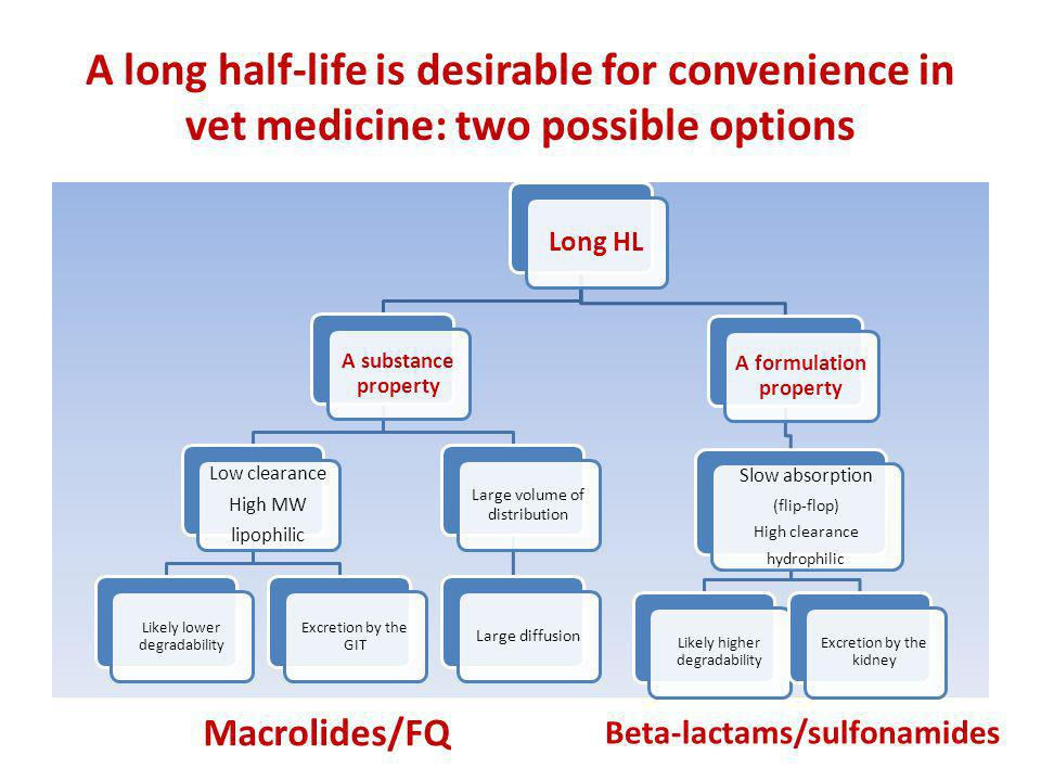 A long half-life is desirable for convenience in vet medicine: two possible options Macrolides/FQ Beta-lactams/sulfonamides