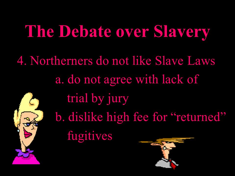 The Debate over Slavery 4. Northerners do not like Slave Laws a.