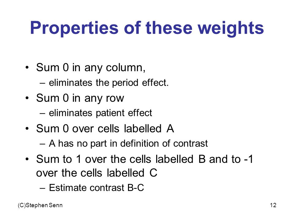 (C)Stephen Senn12 Properties of these weights Sum 0 in any column, –eliminates the period effect.