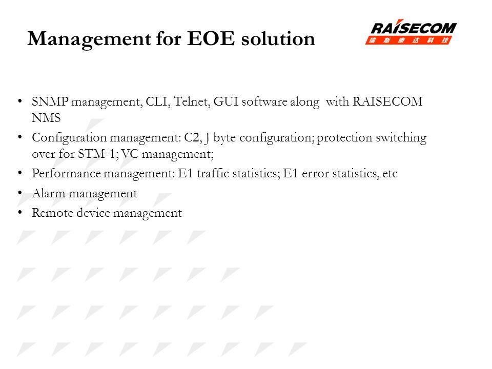 Management for EOE solution SNMP management, CLI, Telnet, GUI software along with RAISECOM NMS Configuration management: C2, J byte configuration; pro