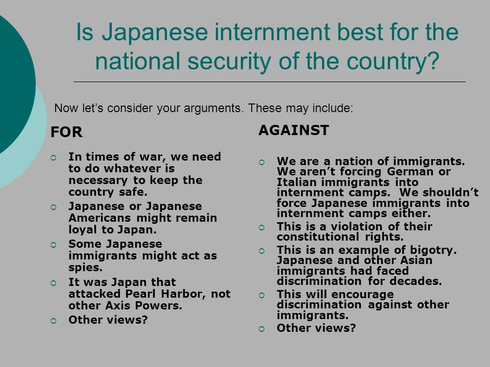 Is Japanese internment best for the national security of the country.