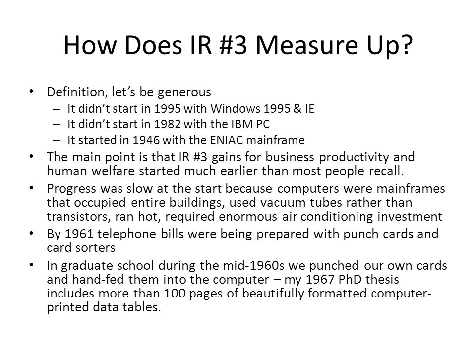 How Does IR #3 Measure Up.