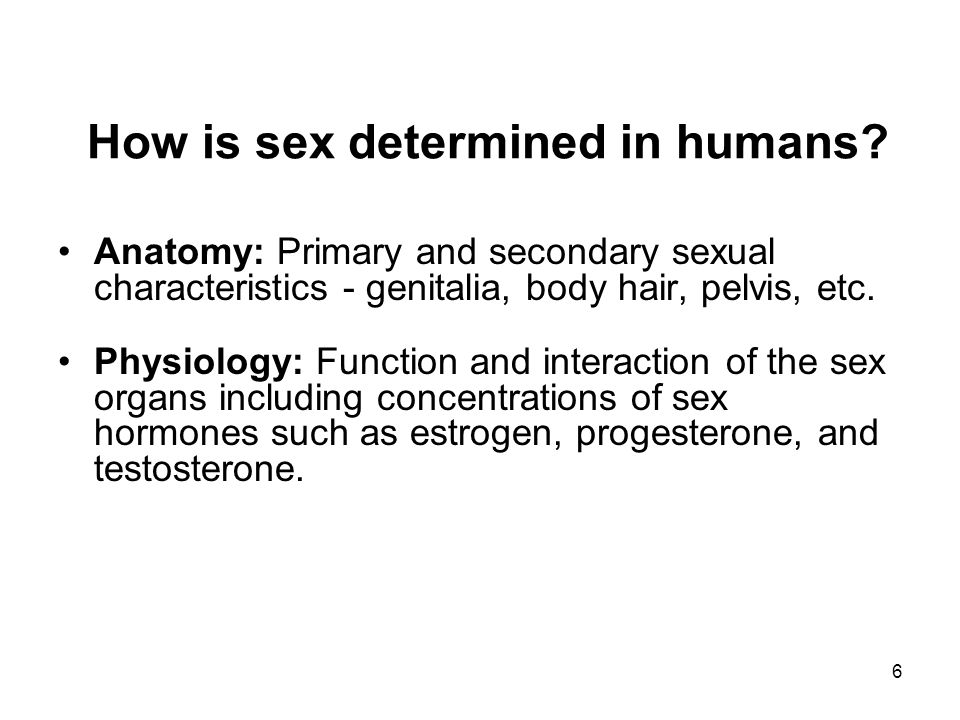 6 How is sex determined in humans? Anatomy: Primary and secondary sexual characteristics - genitalia, body hair, pelvis, etc. Physiology: Function and