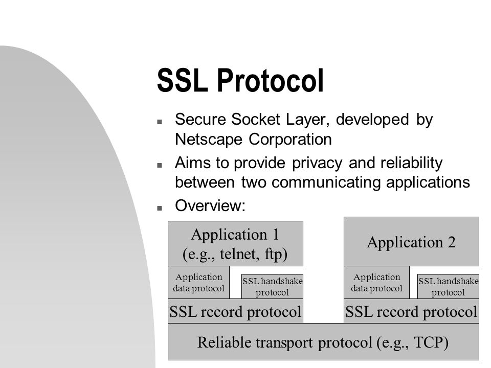 SSL Protocol n Secure Socket Layer, developed by Netscape Corporation n Aims to provide privacy and reliability between two communicating applications