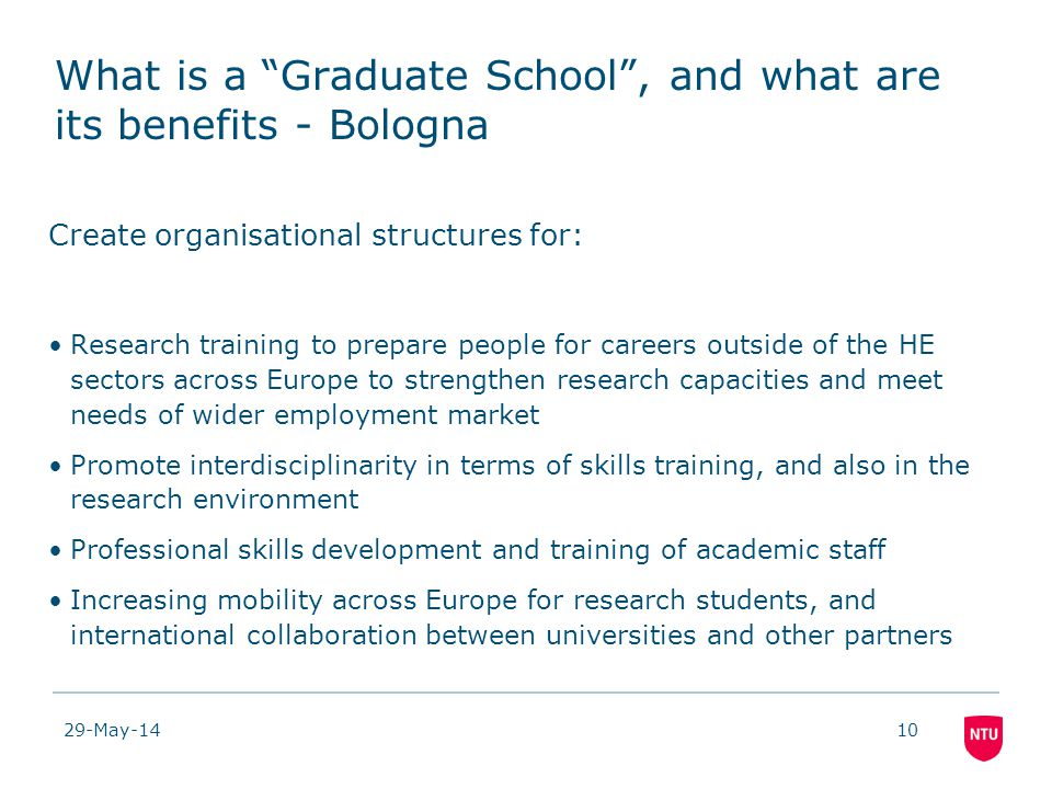 29-May-1410 What is a Graduate School, and what are its benefits - Bologna Create organisational structures for: Research training to prepare people for careers outside of the HE sectors across Europe to strengthen research capacities and meet needs of wider employment market Promote interdisciplinarity in terms of skills training, and also in the research environment Professional skills development and training of academic staff Increasing mobility across Europe for research students, and international collaboration between universities and other partners