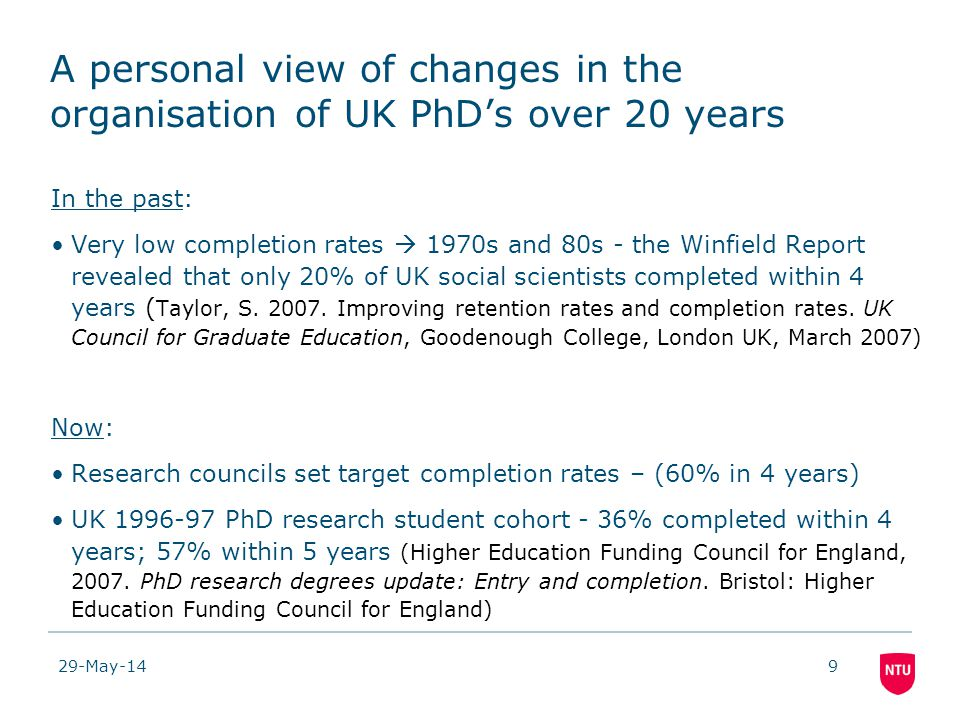 29-May-149 A personal view of changes in the organisation of UK PhDs over 20 years In the past: Very low completion rates 1970s and 80s - the Winfield Report revealed that only 20% of UK social scientists completed within 4 years ( Taylor, S.