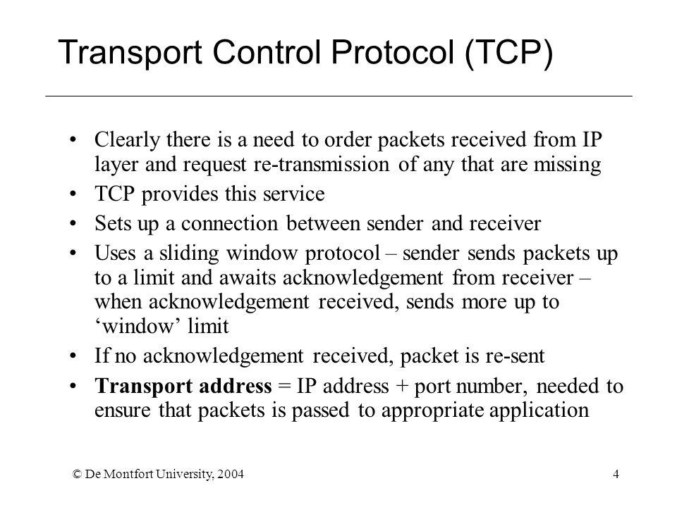 © De Montfort University, 20045 User Datagram Protocol (UDP) No connection set up between sender and receiver No acknowledge/ retransmit procedure Packets have port number Suitable for delivery of streamed audio and video data