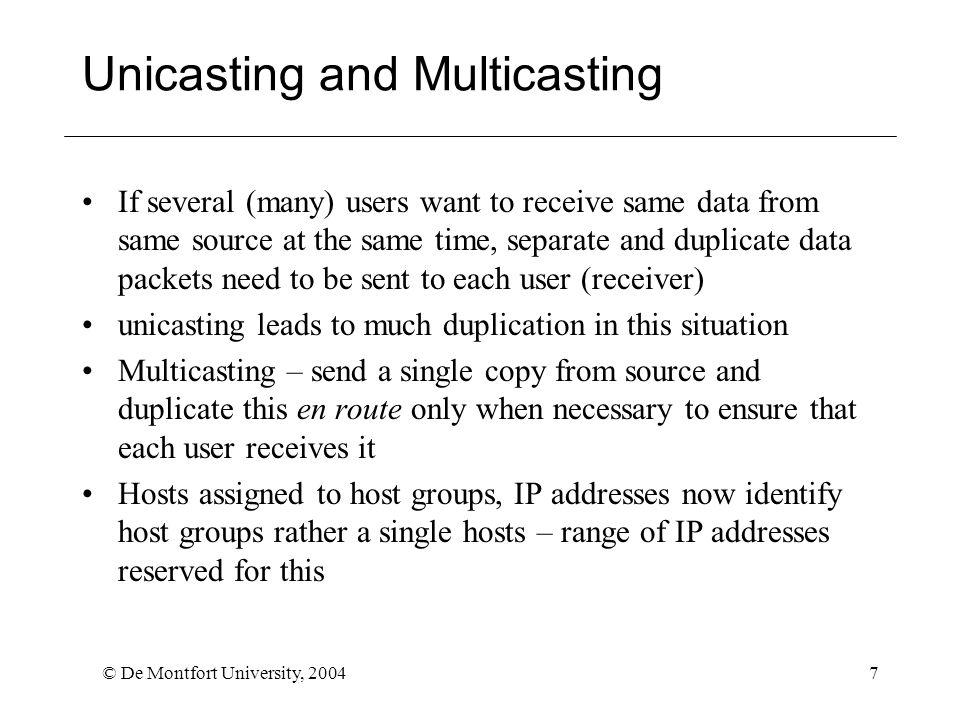 © De Montfort University, 20048 Hypertext Transfer Protocol (HTTP) Link between application (e.g.