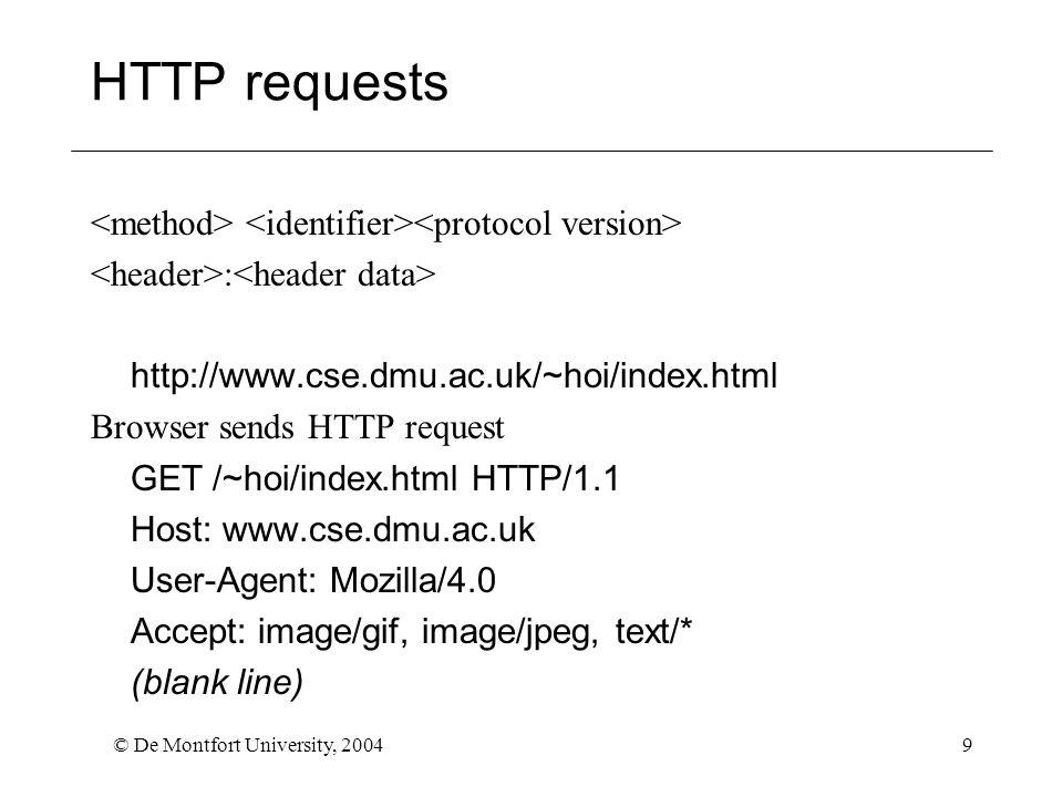 © De Montfort University, 200410 HTTP Server Responses Status followed by header followed by data HTTP/1.1 200 OK Server: Netscape-Enterprise/3.5.1G Date: Sat 25 Feb 2002 14:27:17 GMT Content-type: text/html …..(rest of data) … Status codes <200 – informative300-399 – redirect 200-299 - success 400-599 - error