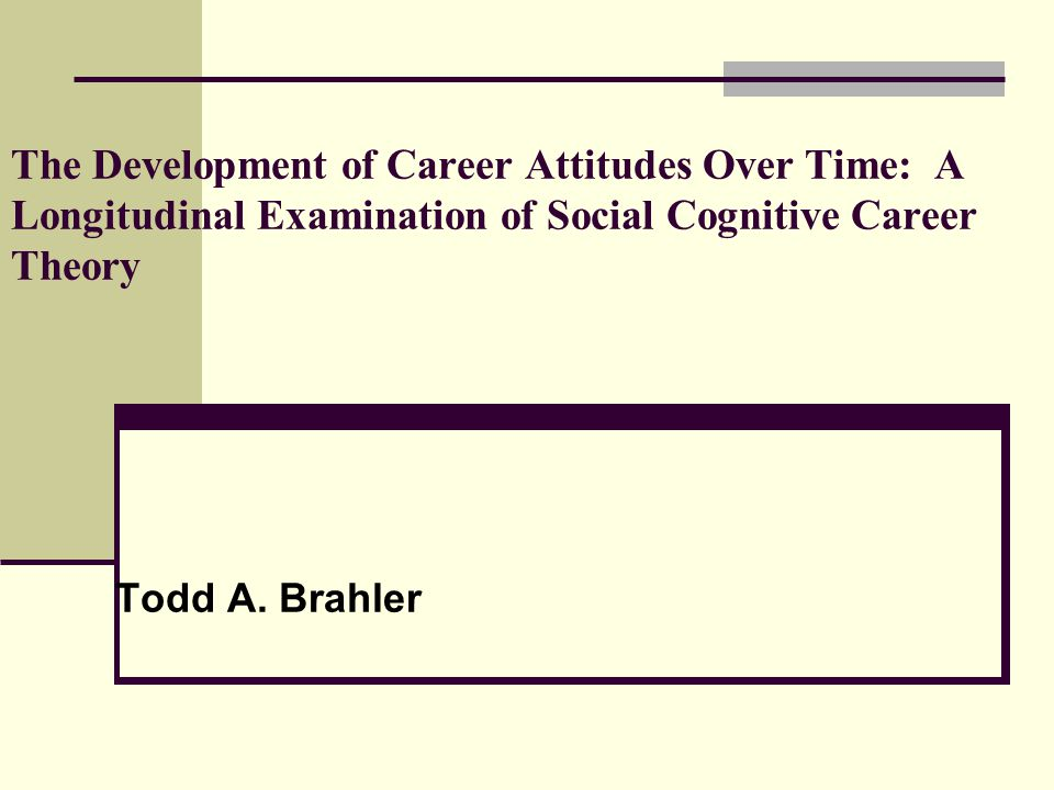 The Development of Career Attitudes Over Time: A Longitudinal Examination of Social Cognitive Career Theory Todd A. Brahler