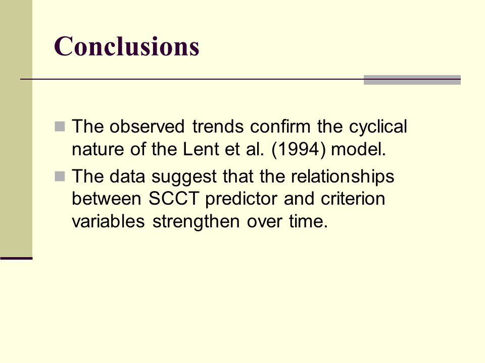 Conclusions The observed trends confirm the cyclical nature of the Lent et al. (1994) model. The data suggest that the relationships between SCCT pred