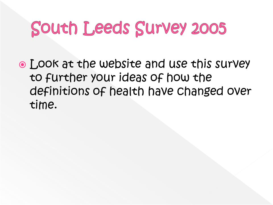 Look at the website and use this survey to further your ideas of how the definitions of health have changed over time.